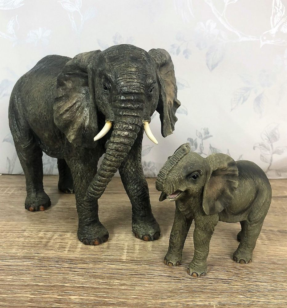 Elephant & Calf Playing Large Decorative Ornament
